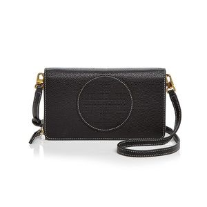 Perforated Leather Wallet Crossbody Bag